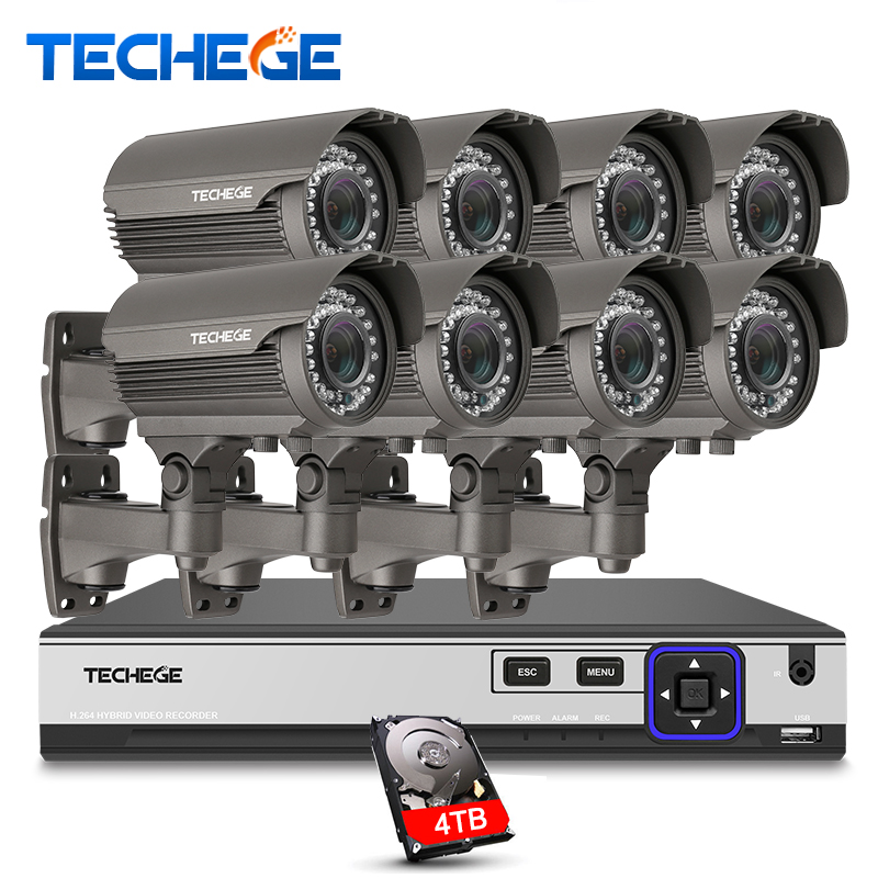 Techege H.265 Security Surveillance Kits 8CH 4K 48V PoE NVR 4MP 2.8-12mm manual lens IP Camera POE System P2P Cloud cctv system gadinan h 265 h 264 8ch 48v poe ip camera nvr security surveillance cctv system p2p onvif 4 5mp 8 4mp onvif real time xmeye p2p
