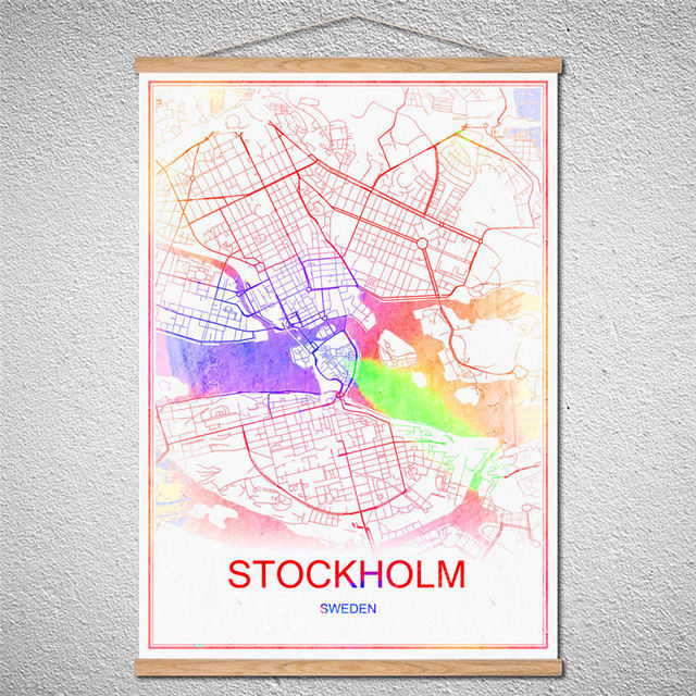 World map stockholm city poster with frame oil painting abstract world map stockholm city poster with frame oil painting abstract modern canvas print picturecustomized pattern cafe gumiabroncs Gallery