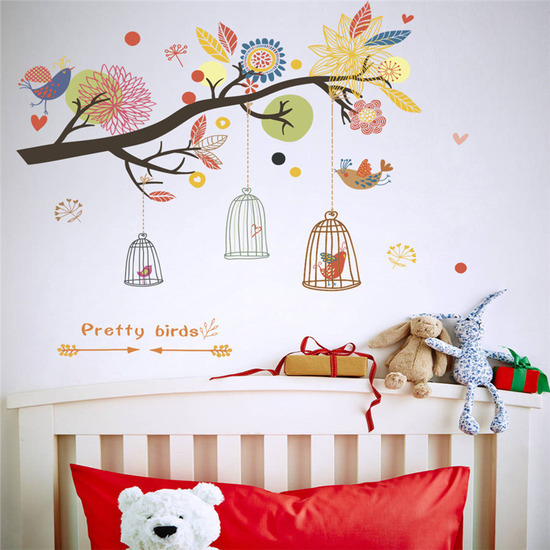 colorful flowers birdcage tree wall stickers for kids room home wall decals art decor adesivos de parede diy decals
