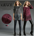 New Designer Fashion Women Clothes Roupas Femininas Casual Lace Black Round Neck Soft Maxi Blouse Plus Size NS162