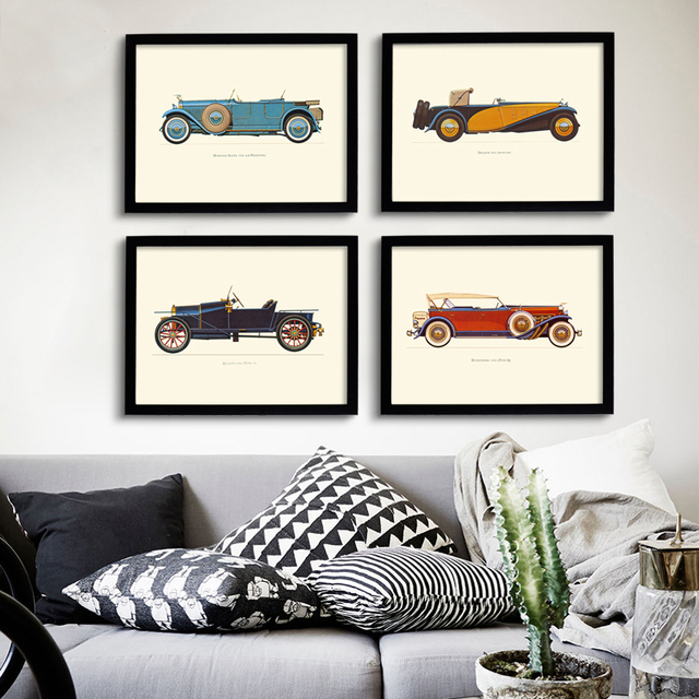 New Classic Cars Vintage Canvas Painting Posters Prints Oil Wall Art ...
