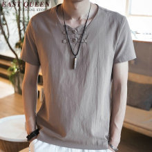 Traditional chinese clothing for men linen white shirts solid color ethnic male linen blouse with short sleeves KK1020 Y