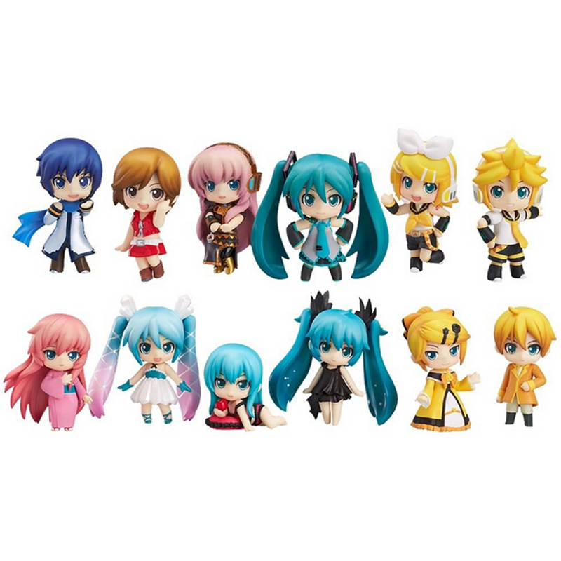 12pcs/set New Vocaloid HATSUNE MIKU Family Figures Rin Len Ruka Kaito Meiko Anime Figure Toys 2017 anime vocaloid kagamine rin ren len cafe maid dress cosplay costume o