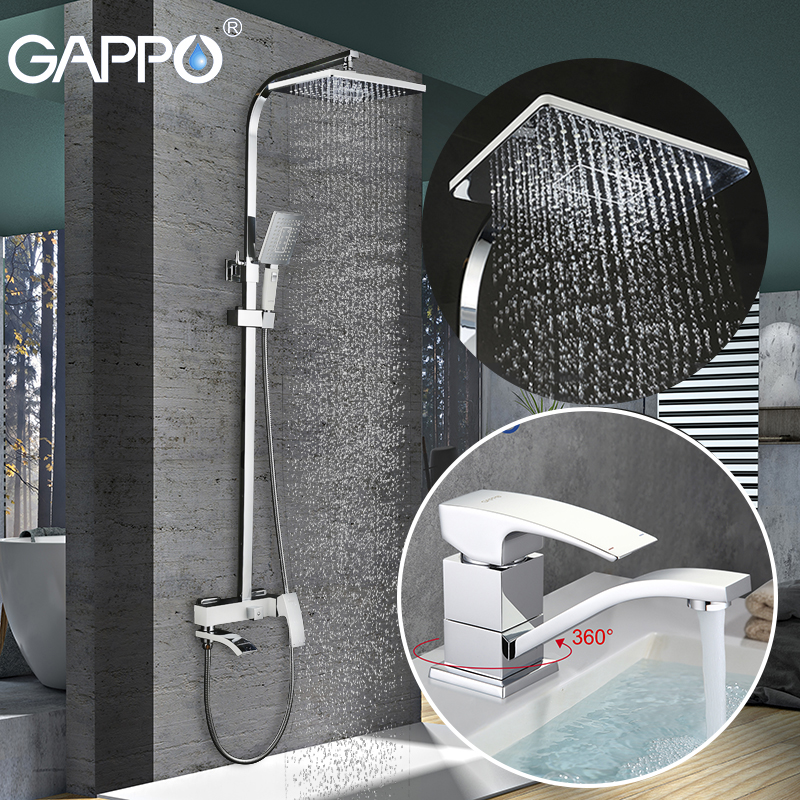 GAPPO Bathroom Shower Faucet Set Bathtub Faucet Mixer Tap Waterfall Wall Shower Head Shower Basin Faucet Set GA4507+GA2407-8