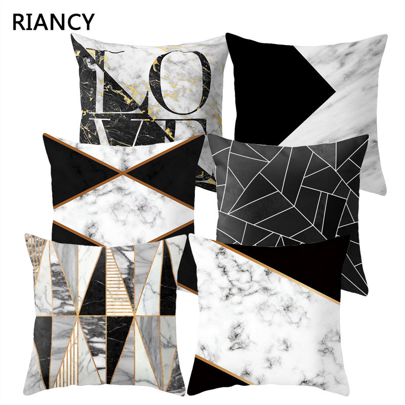 Black Geometric Marble Sofa Decorative Cushion Cover Pillow Pillowcase Polyester 45*45 Throw Pillow Home Decor Pillowcover 40507
