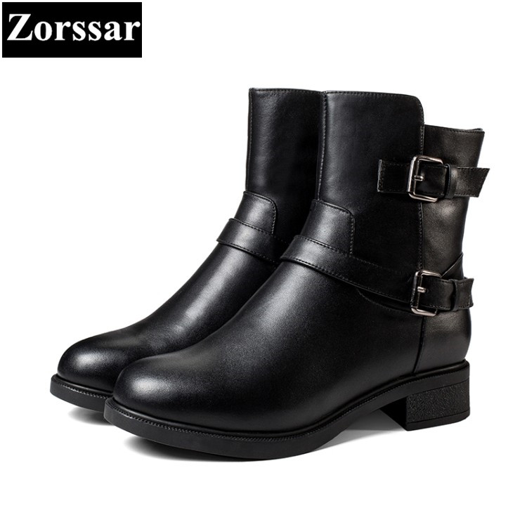 все цены на {Zorssar} New fashion Genuine Leather womens boots Solid Low heel ankle Motorcycle boots winter warm women shoes bottine femme онлайн