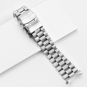 Image 2 - Rolamy 20 22mm srebrny Hollow zakrzywiony koniec solidne ogniwa wymiana Watch Band bransoletka z paskiem podwójne zapięcie Push dla Seiko