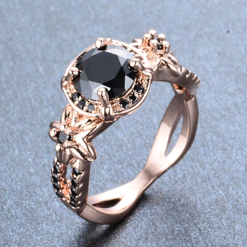 Vintage Black Stone Flower Rings For Women Wedding Jewelry Cocktail .