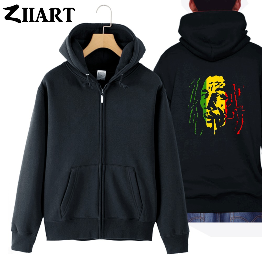 bob marley Smoking cigarette couple clothes girl woman female cotton full zip hooded Coats Jackets
