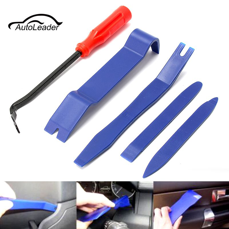 5 Pc Hard Plastic Auto Trim & Molding Set Open Removal Tools Nylon Car Interior/Exterior Remover Pry Bars
