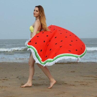 150cm Summer Large Watermelon Beach <font><b>Towel</b></font> Round Circle Microfiber Tassel Blankets Donut Pineapple Fruit Skull Bath <font><b>Towel</b></font>