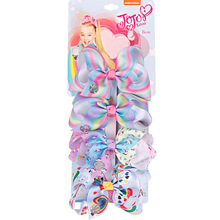 4PCS/Lot JoJo Siwa Bows Jojo Bow 4.5Inch With Unicorn and Rainbow Clip Pattern Beautiful Hair Accessories Best Present for Girls