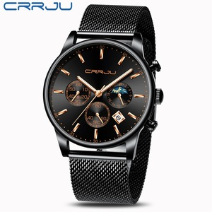 Image 4 - CRRJU relojes para hombre, marca superior, impermeable, negocios, abertura para fecha, reloj de pulsera, correa de malla, reloj de cuarzo informal