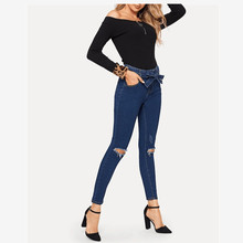Popular new hole female feet pants high waist casual jeans fashion tight jeans stretch hot women's denim trousers new style jeans slim stretch jeans female trousers autumn new cross stitch fight off pants feet