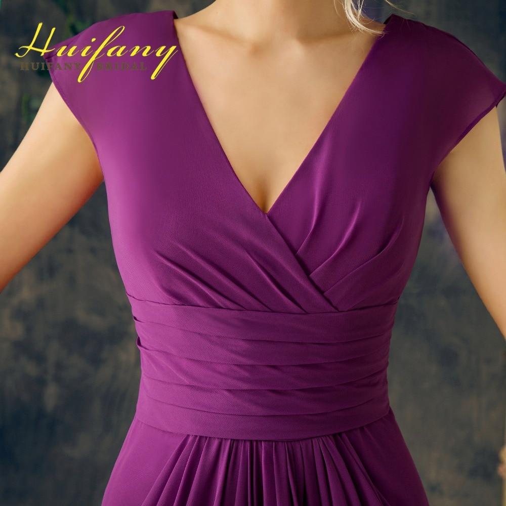 Cuadro verdadero Púrpura V Cuello de Volantes de Gasa Largo Vestidos ...