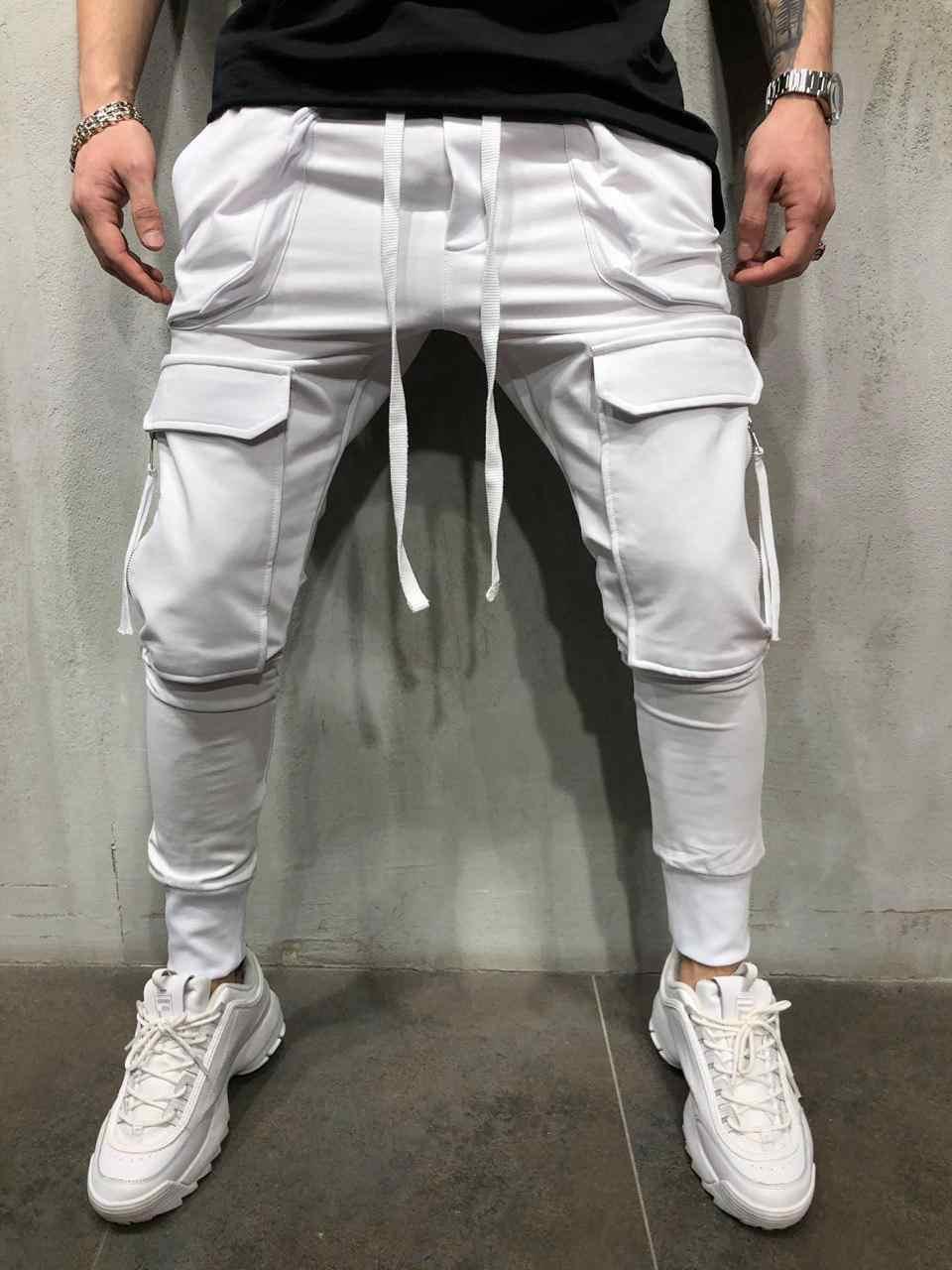 Erkek Joggers rahat pantolon spor erkekler spor eşofman altları sıska Sweatpants pantolon erkek siyah spor salonları Jogger parça pantolon