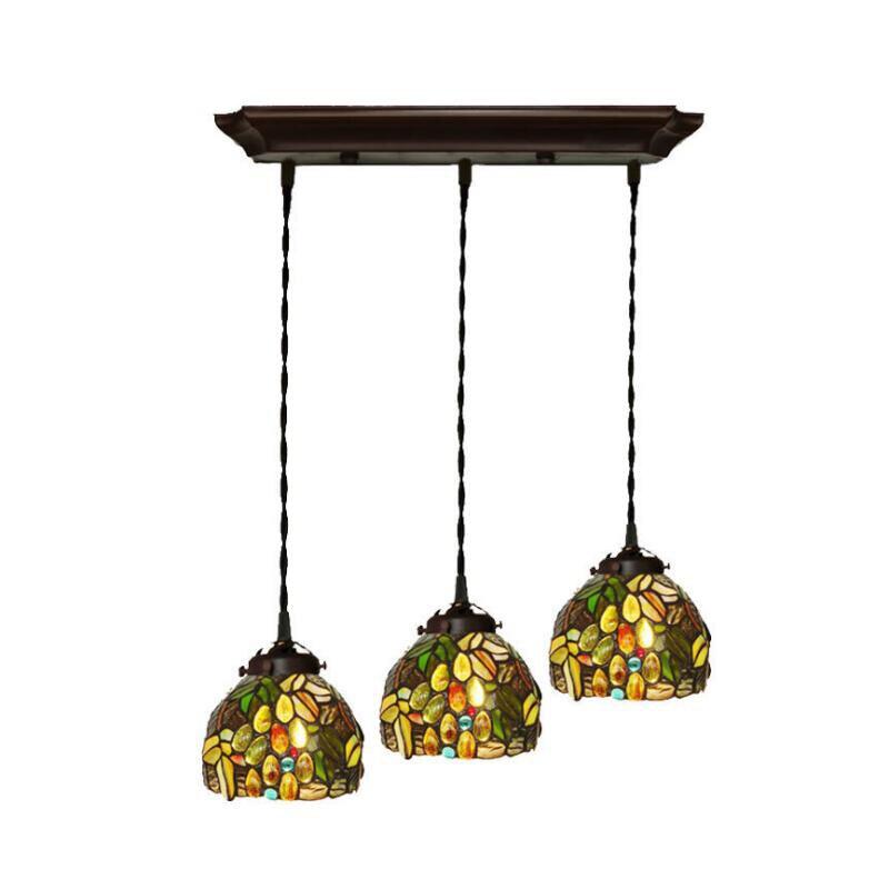 Vintage salle à manger lumière lampe jardin vitrail Dragon mouche pendentifs lumière Pendante Led 220V 110V pour salle à manger table