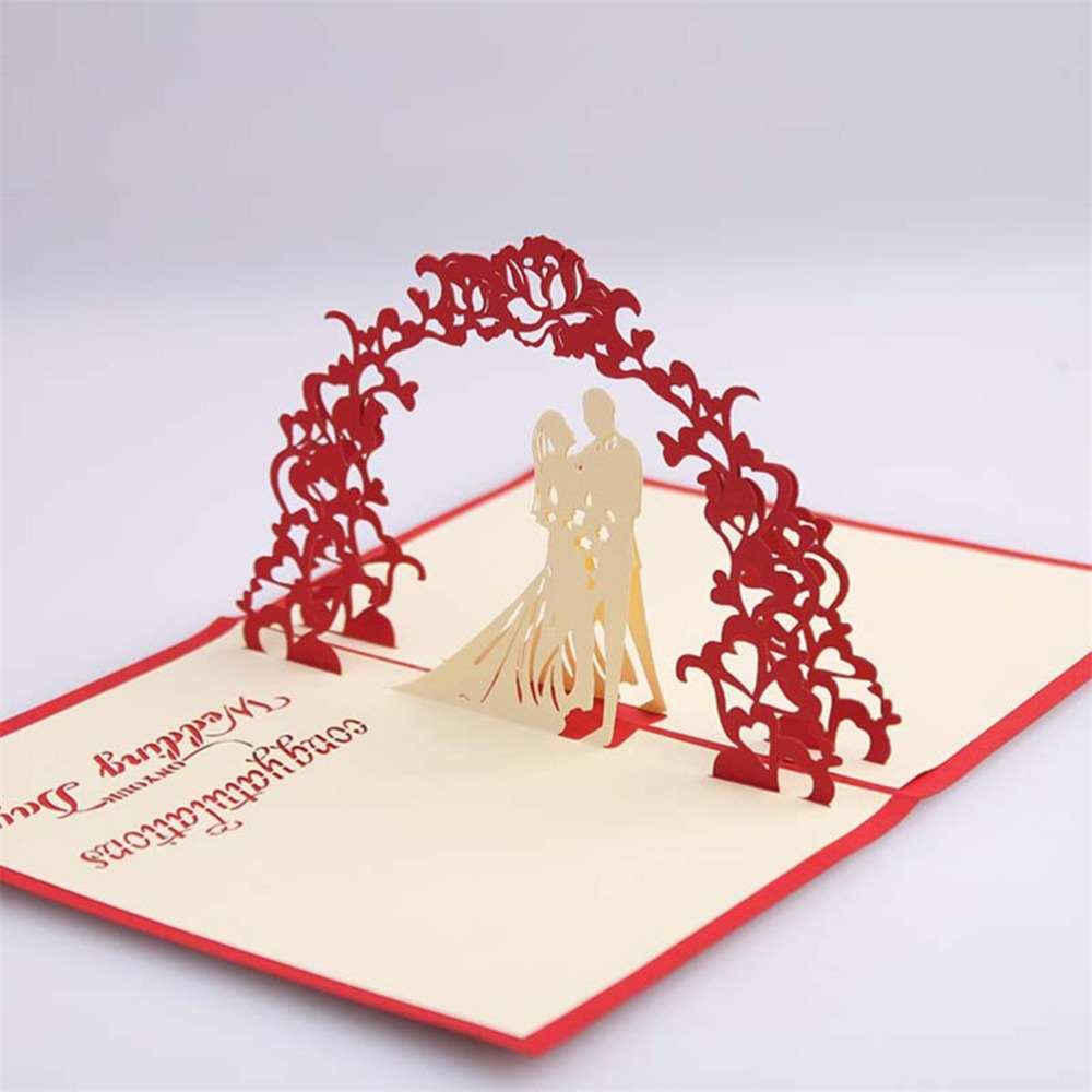New Creative Sweety Wedding Greeting Kirigami Card 3D Pop Up Paper Laser Cut Custom Postcards