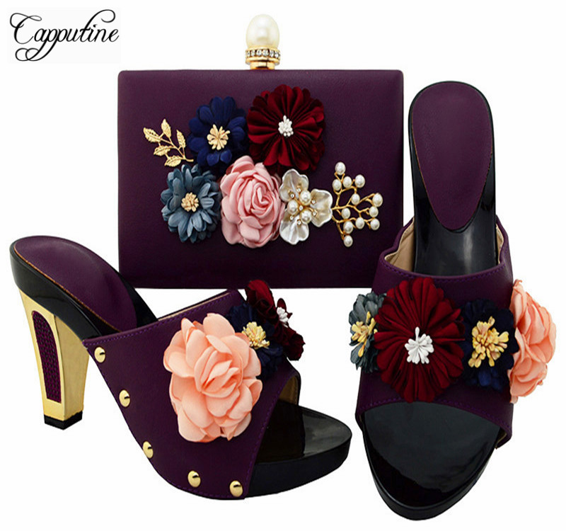Capputine New Arrival Italian Purple Color Shoe And Bag Set African Women High Heels Shoes And Bag Sets For Party Dress BL0012 red african wedding shoe and bag sets women shoe and bag to match for parties elegant italian women shoe and bag set