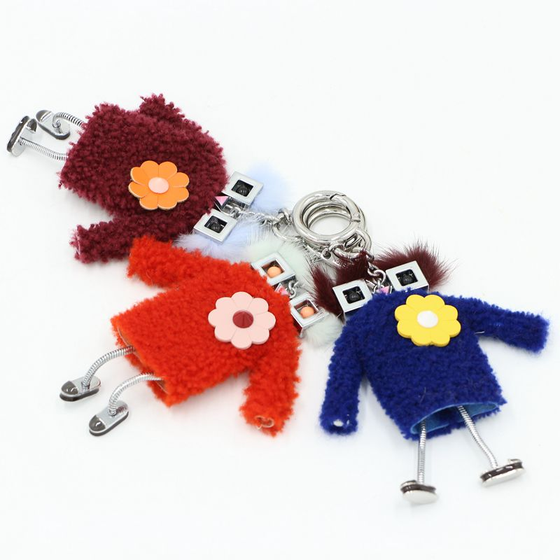 Real fur keychain with charms lady bug monsters bag cute witches charm key chains metal robot handbag keyring pendant for women mini motorcycle helmet keychain cute keyring