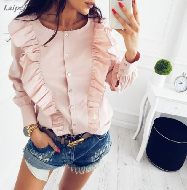 Women Summer New Fashion O-Neck Ruffles Long Sleeve elegant tops blue striped button blouse Casual Office work shirts 5