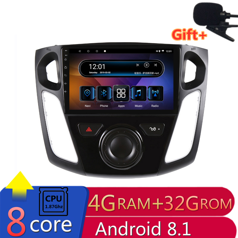 "9"" 4G RAM 8 cores Android Car DVD GPS Navigation For Ford Focus 2012 2013 2014 2015 audio stereo car radio headunit bluetooth"