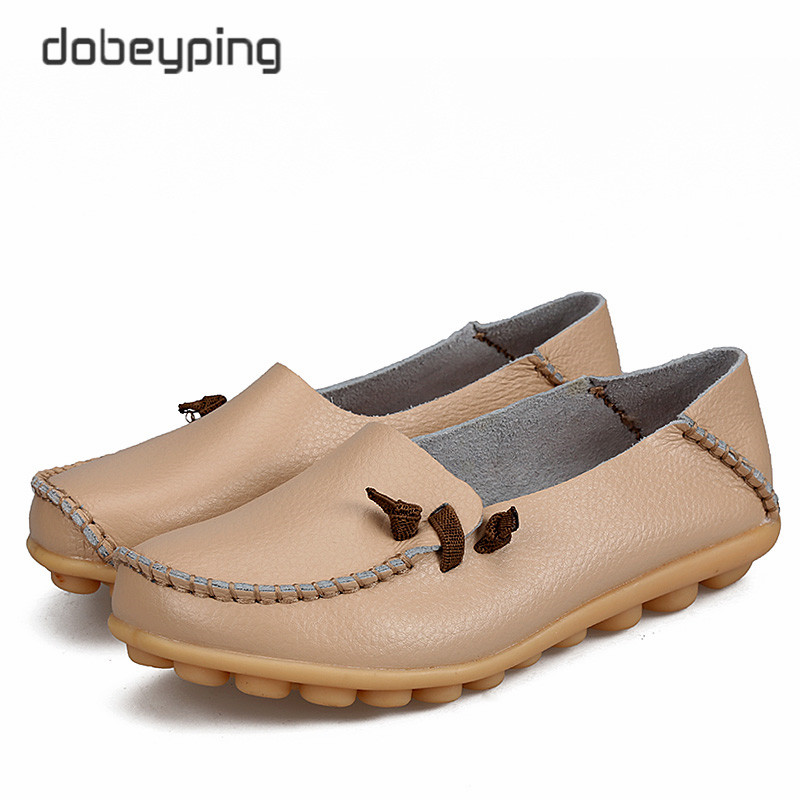 2017 New Women's Casual Shoes Genuine Leather Woman Flats Soft Mother Loafers Female Driving Footwear Solid Boat Shoe Size 34-44