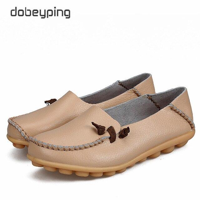 2017 جديد حذاء نسائي كاجوال جلد طبيعي امرأة الشقق الأم الناعمة المتسكعون الإناث القيادة الأحذية الصلبة قارب حذاء حجم 34 44
