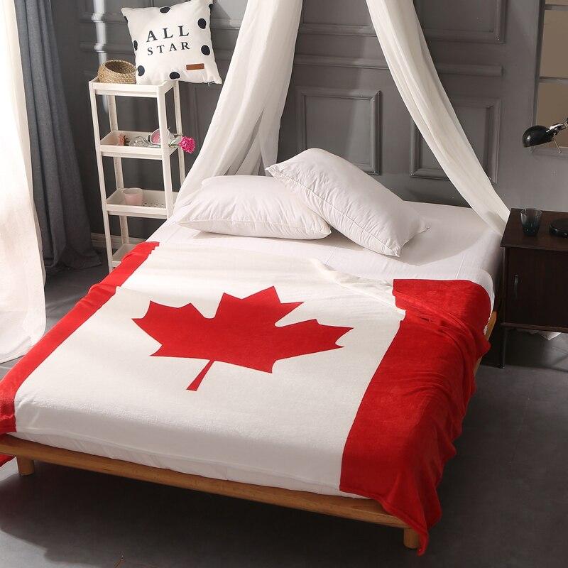 Red Canada British Flag American Flag Fleece Throw Blankets For Beds Sofa Super Soft Plaid Bedspread