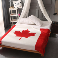 Red Canada British Flag/American Flag Fleece Throw Blankets For Beds Sofa Super Soft Plaid Bedspread Warm Bed Linens Manta
