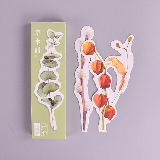 30 stks/doos Heteromorphism Verse plant papier bladwijzer briefpapier bladwijzers boek houder bericht kaart schoolbenodigdheden papelaria
