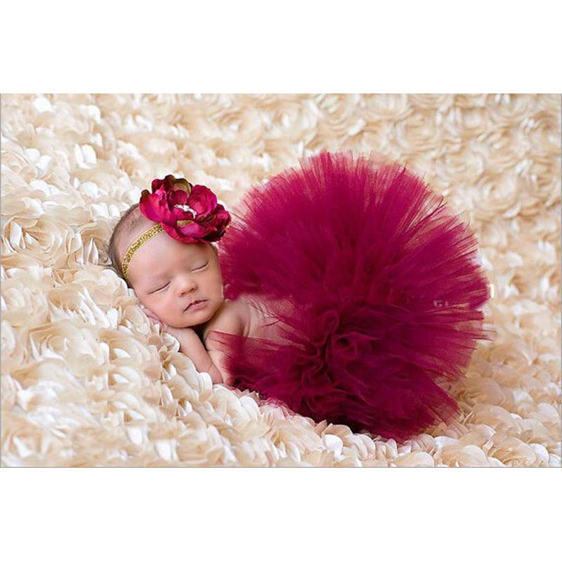 NEW 4 Colors Newborn Tutu Skirt With Matching Flower Headband Stunning Newborn Photo Prop Girl Tutu Skirt
