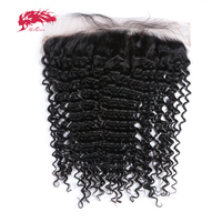 Ali Queen Hair Products Deep Wave Remy Brazilian Hair Natural Color 8 to 20 13x4 Lace Frontal Closure