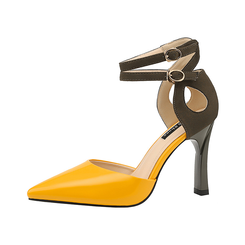 35ef47be430 Fashion Close Head Double Buckle Platform Sandals Woman 2018 High Heel Sandals  Women s Summer Shoes Red Yellow Black-in High Heels from Shoes on ...