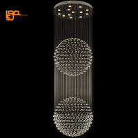 Hot Sale Ball Crystal Chandelier Modern Lighting D28 H59 Hang Wire Staircase Light