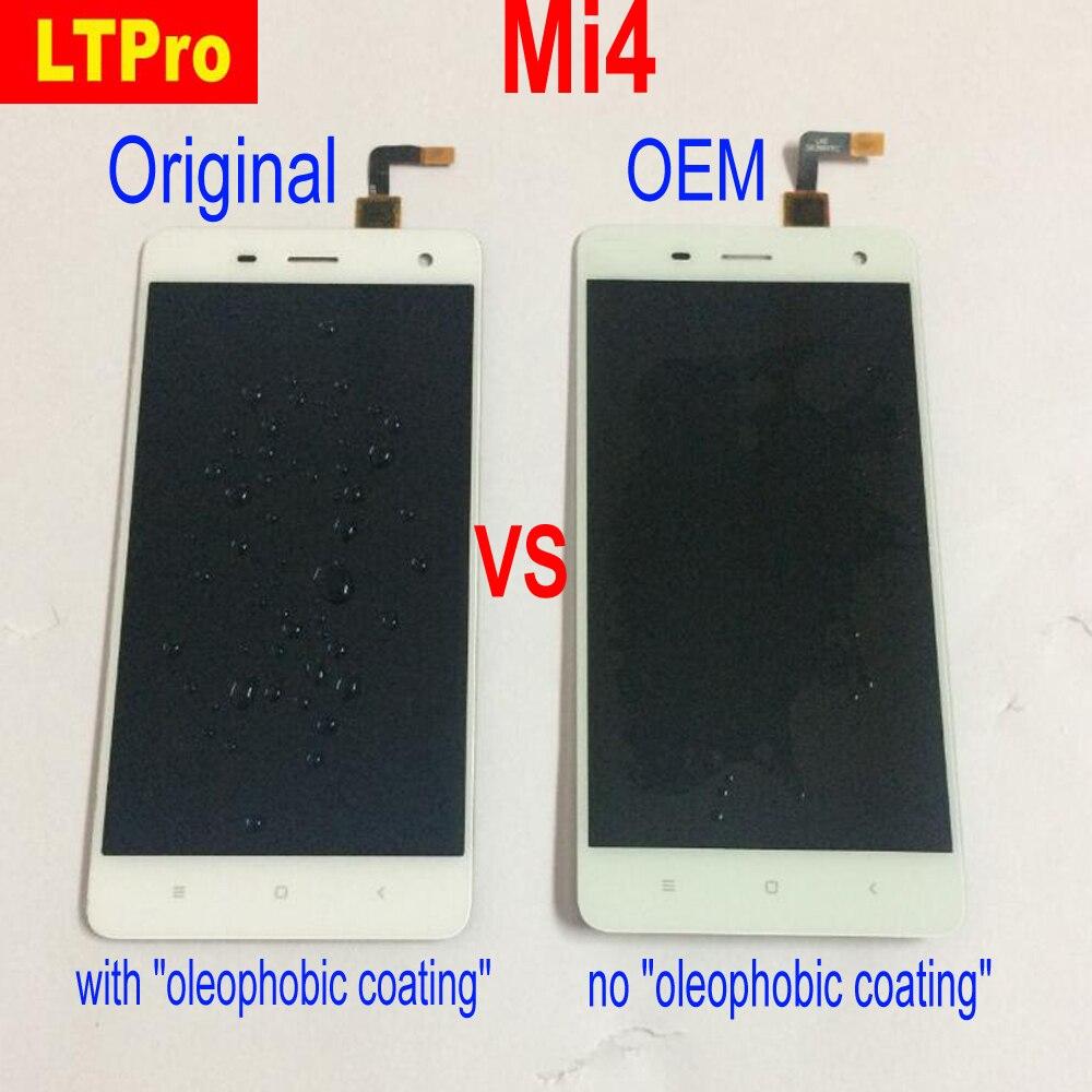 LTPro 100% Testé Origine Pour Xiaomi Mi4 M4 MI 4 Plein LCD Affichage à L'écran Tactile Digitizer Assemblée ou avec Cadre Téléphone Pièces