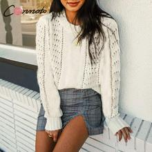 Hollow out White Knitted Pullover