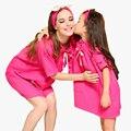 Pijamas de la familia de madre e hija vestido de la muchacha de las mujeres ropa de dormir camisón de algodón familia de vapor set niñas ropa madre e hija conjunto