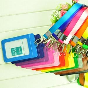 Image 3 - 送料無料 10 個 Pu レザー学校オフィスビジネス垂直 Id バッジカードホルダーとストラップ ID バッジクレジットカードダブルスロット