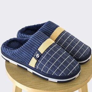 Image 3 - ชายรองเท้าแตะ2020 Warm Plush Flockชายรองเท้าแตะสำหรับHomeสวมใส่ลื่นเย็บยางนุ่มบ้านในร่มรองเท้า