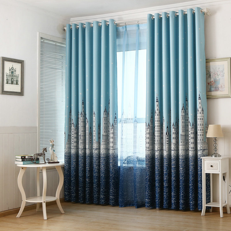 Hot Sale! Curtains For baby/Kids / Children / Boys / Girls /Princess Customized Ready Made Blackout Sky Castle