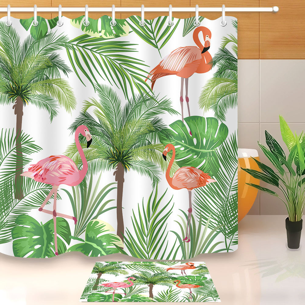 72Flamingo Coconut Waterproof Polyester Fabric Shower Curtain Hook Bathroom Mat