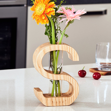 The Letter Woooden Flower Vase Acrylic Bottle Home Decoration Desktop Decorative Vase Wedding Party Decor Creative