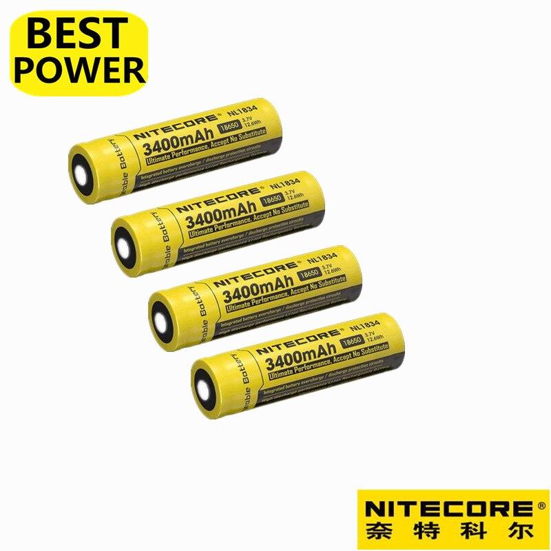 Prix pour 4 pcs/lot Nitecore NL1834 (nouvelle version de NL189) 18650 3400 mAh 3.7 V 12.6Wh Rechargeable Li-sur Batterie haute qualité avec protéger
