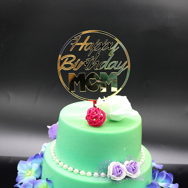 Golden Glitter Cake Topper Party Supplies Happy Birthday For Mom Mothers Day Decor Free Shipping