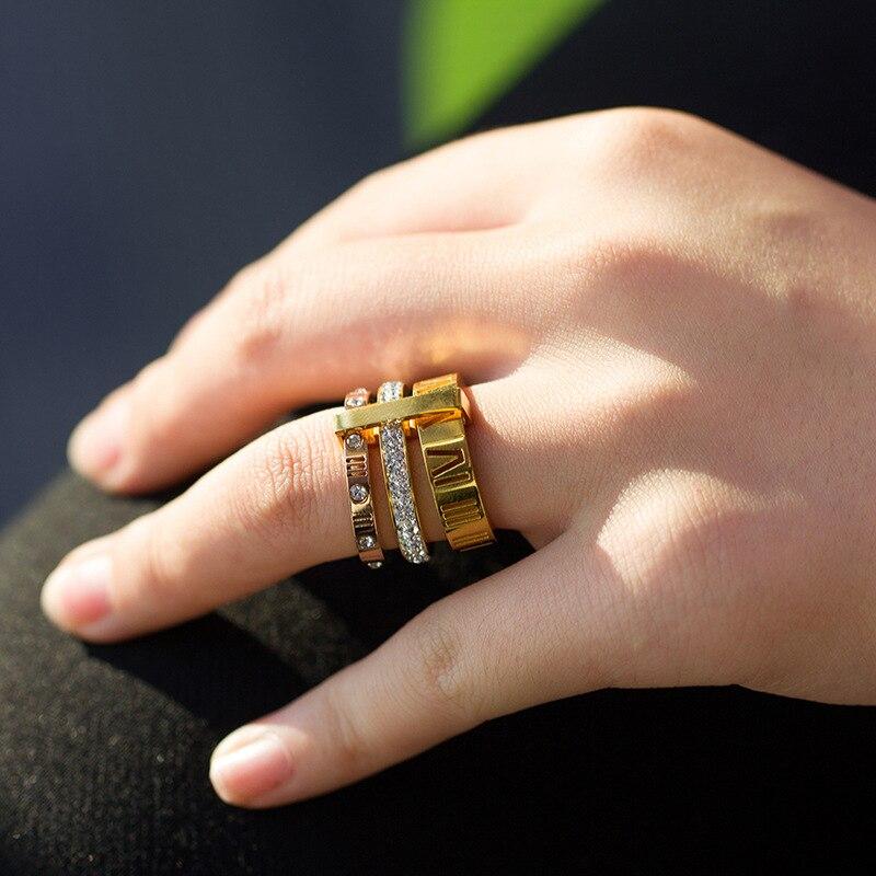 Anillos de diamantes de imitación para las mujeres de acero inoxidable de oro/plata/Rosa números romanos dedo anillos de boda Anillos de Compromiso de
