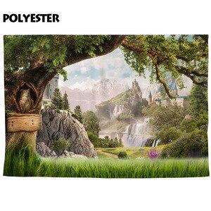 Image 2 - Funnytree fotografia photocall castello albero di montagna in legno paese delle meraviglie del gufo natura Pascolo fantasia fondali Foto sfondo