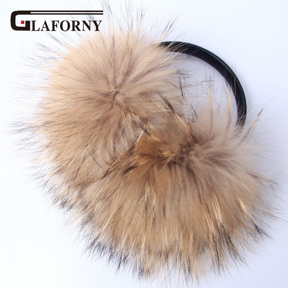 Glaforny 2018 Oversized 100% Real Raccoon Fur Earmuffs Korean Lovely Personality Plush Fur Ear Cover Warm Winter Ear Protector
