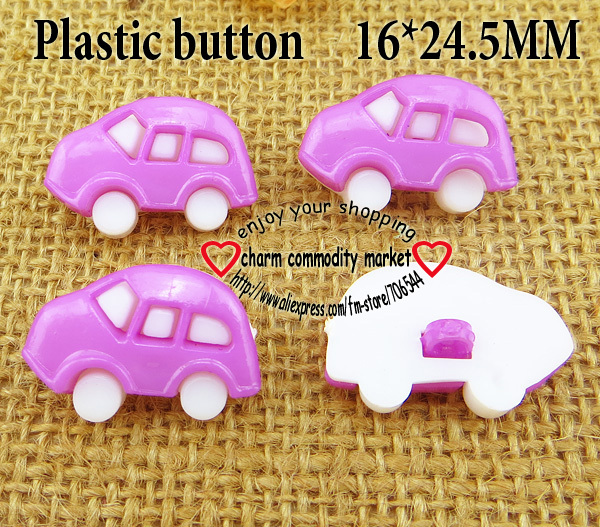 50PCS 16*24.5MM car shape White Bottom purple Dyed Plastic cartoons buttons coat boots sewing clothes accessories P-086-3