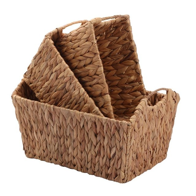 Kingwillow Hand Woven Natural Water Hyacinth Rectangular Storage Baskets  With Handle.